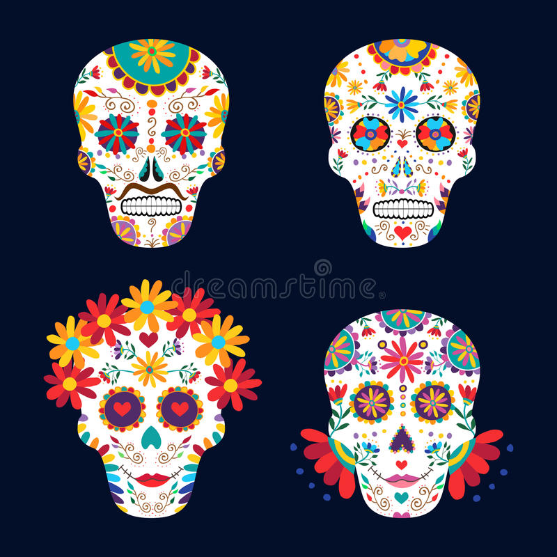 Day of the dead skulls for mexican celebration royalty free illustration