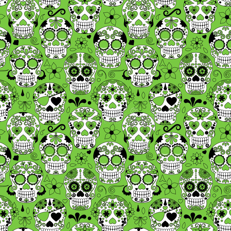 Day of the Dead Sugar Skull Seamless Vector Background. Day of the Dead or Dia de Los Muertos Sugar Skull Seamless Vector Background royalty free illustration