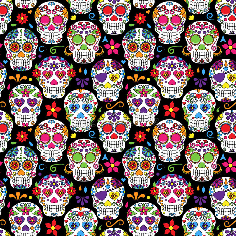 Day of the Dead Sugar Skull Seamless Vector Background. Day of the Dead or Dia de Los Muertos Sugar Skull Seamless Vector Background stock illustration