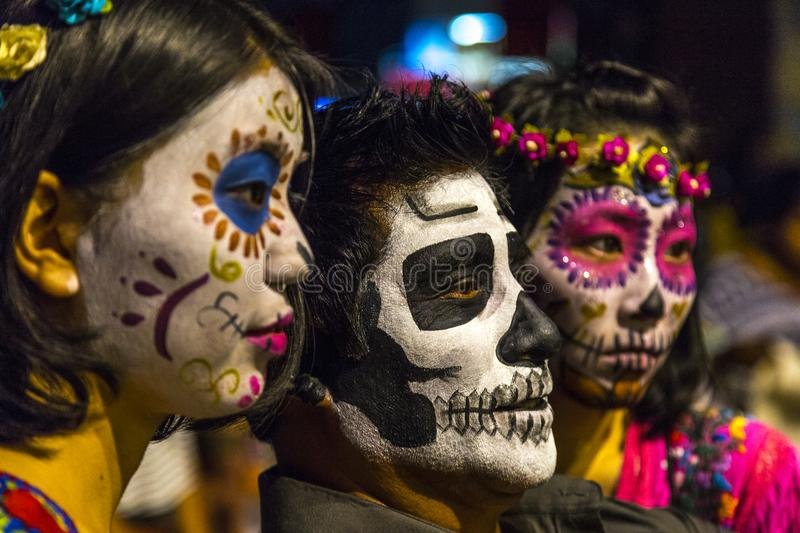 Day of the Dead. Three Day of the Dead participants pose for a selfie during the festival celebration in Oaxaca, Mexico stock photography
