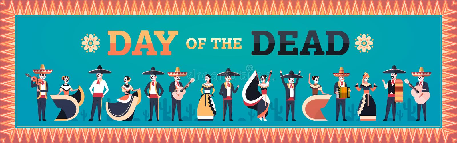 Day of dead traditional mexican halloween dia de los muertos holiday party decoration men women wearing skeleton masks royalty free illustration