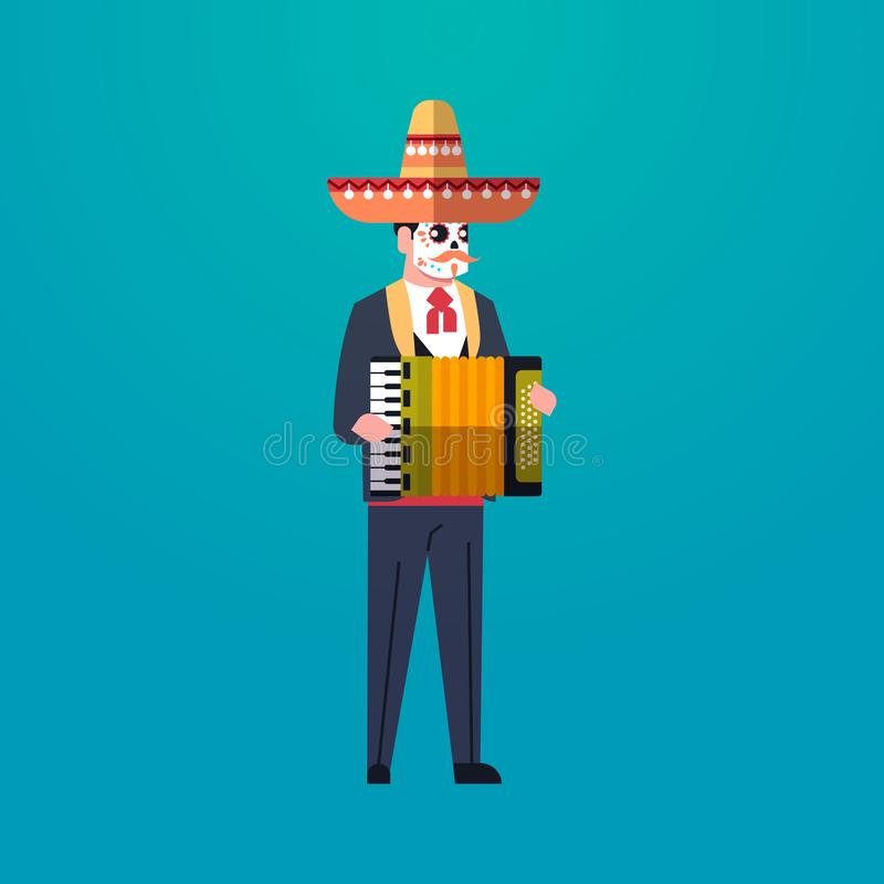 Day of dead traditional mexican halloween man wearing traditional clothes playing accordion skeleton mask dia de los. Muertos holiday party male cartoon vector illustration