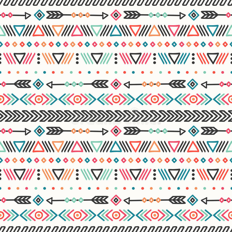 Day of the Dead. Tribal hand drawn line mexican ethnic seamless pattern. Border. Wrapping paper. Print. Doodles. Tiling royalty free illustration