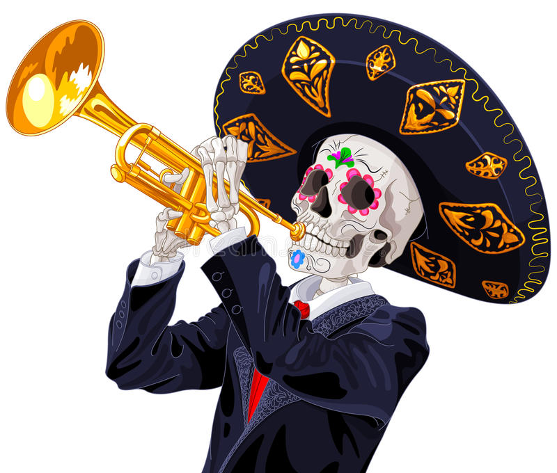 Day of the Dead Trumpet Player stock illustration