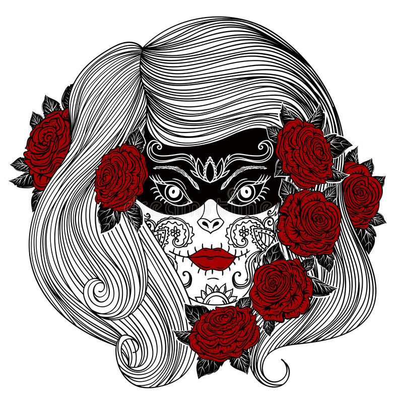 woman with sugar skull and roses flowers stock vector