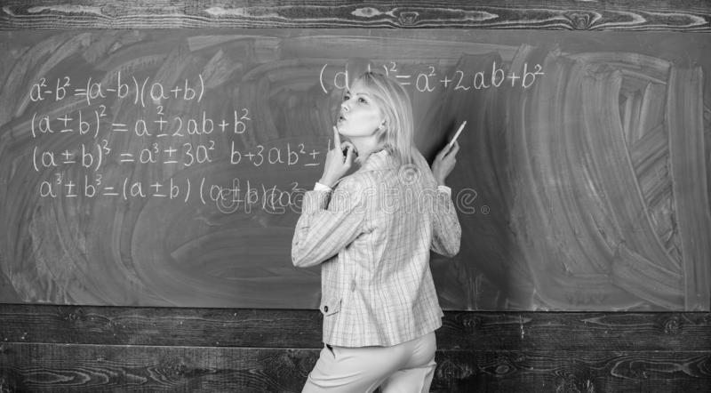 Day dreaming at school. Home schooling. thoughtful woman. Study and education. Modern school. Knowledge day. teacher on stock images