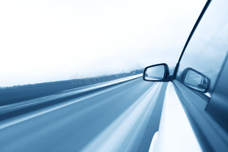 Day drive. Day speed drive on car royalty free stock photo