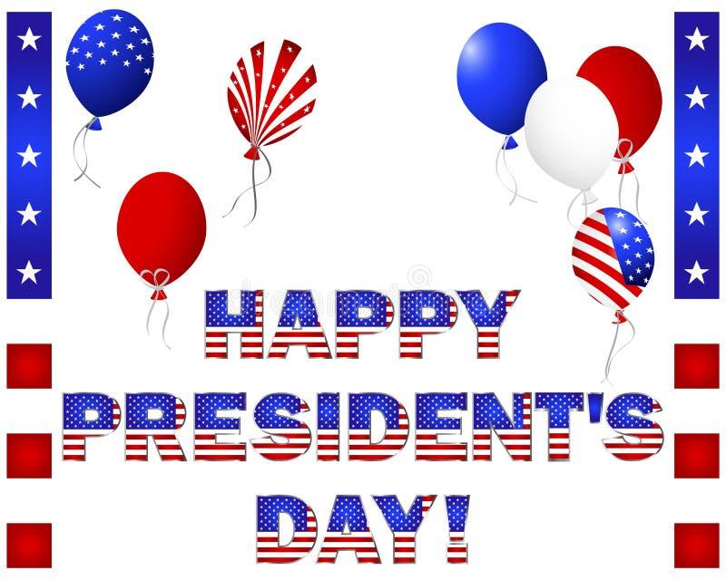 Day du Président. Beaux texte et ballons. illustration de vecteur