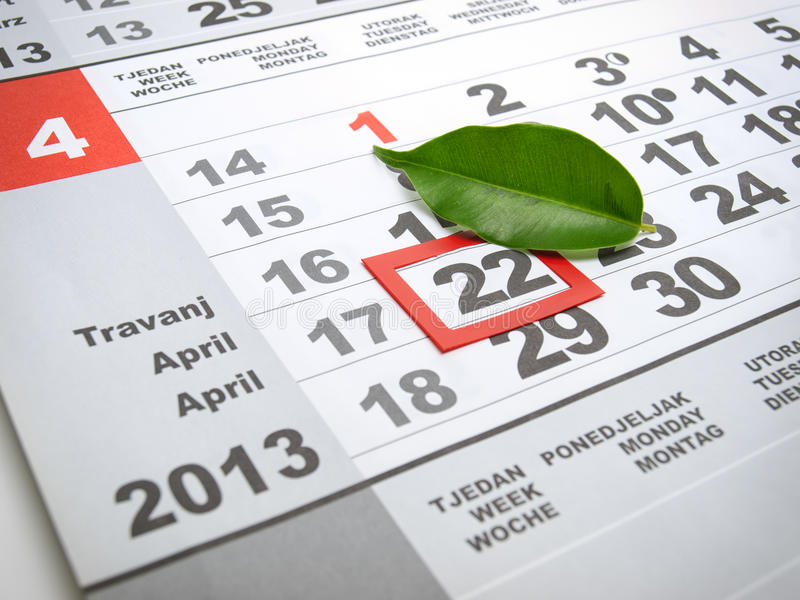 Day of Earth. Earth day marked on the calendar with a leaf as a symbol royalty free stock images