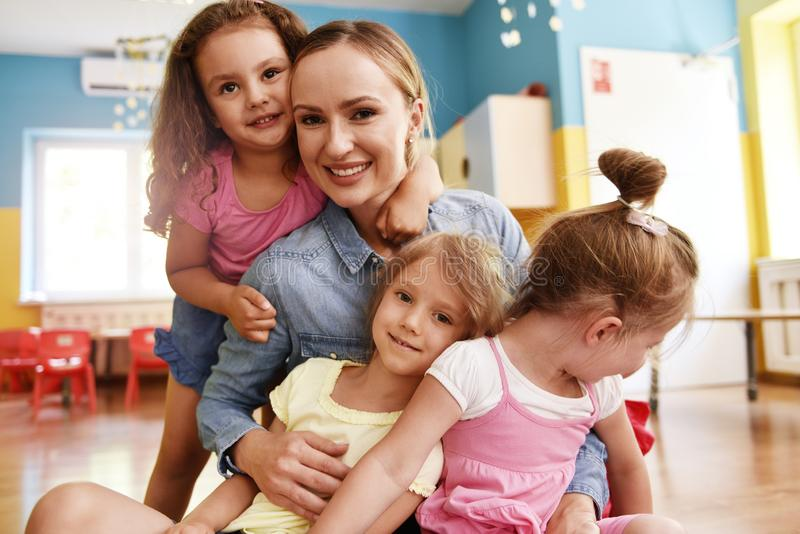 Day with friends in the preschool royalty free stock photo