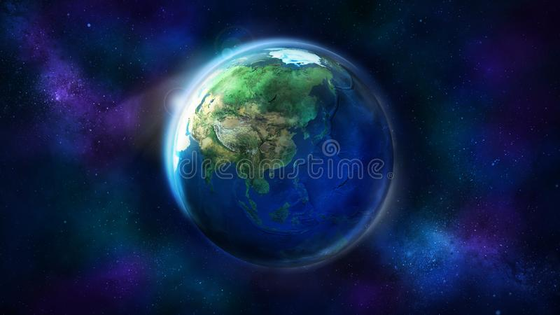 The day half of the Earth from space showing Asia, Australia and Oceania. Realistic Earth from space showing Asia, Australia and Oceania. The day half of the royalty free stock image