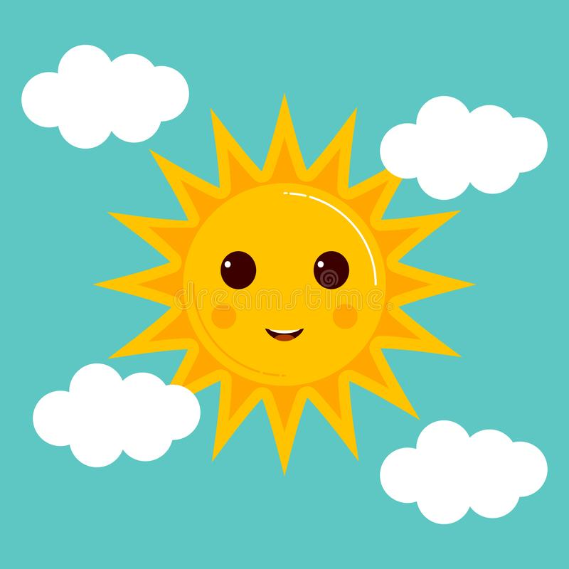 Day illustrations with funny smiling cartoon characters of sun stock illustration