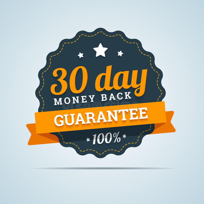 30 day money back badge. stock illustration