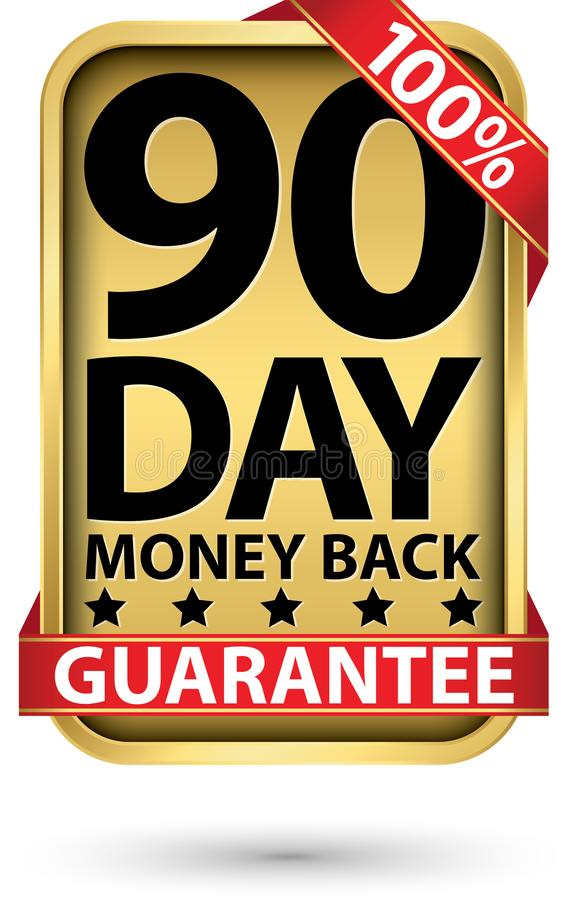 90 day 100% money back guarantee golden sign, vector illustration royalty free illustration
