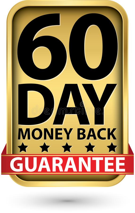 60 day money back guarantee golden sign, vector illustration stock illustration