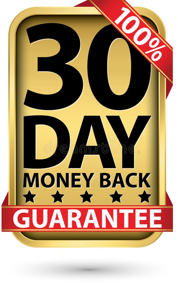 30 day 100% money back guarantee golden sign, vector illustration stock illustration