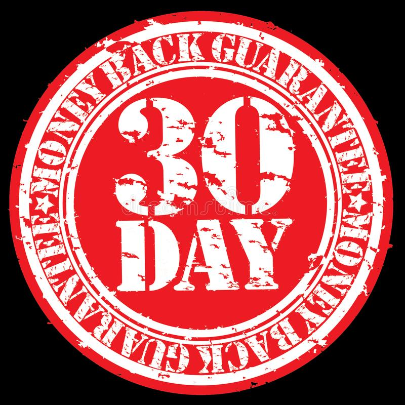 30 day money back guarantee rubber stamp vector illustration