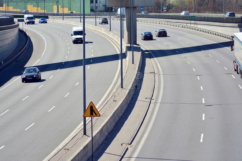 Day motor traffic on the S8 motorway seen from above. One of the bussiest highways in the Poland. stock image