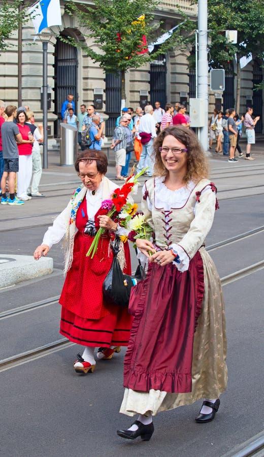 day national parade swiss zurich fotografering för bildbyråer