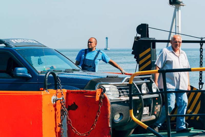 People transported on ferry Russia royalty free stock photography