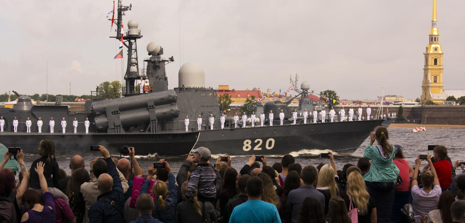 Day of the Navy with people St. Petersburg stock photo