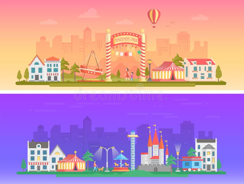 Day, night amusement park - set of modern flat vector illustrations vector illustration