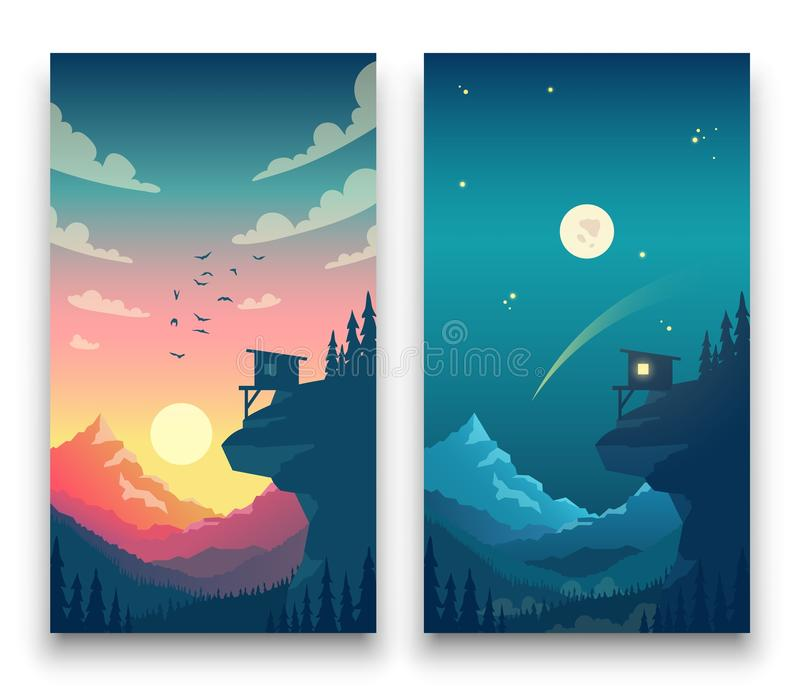 Day and night flat vector mountain landscape with moon, sun and clouds in sky. Vector concept for weather app. Landscape nature day and night illustration stock illustration