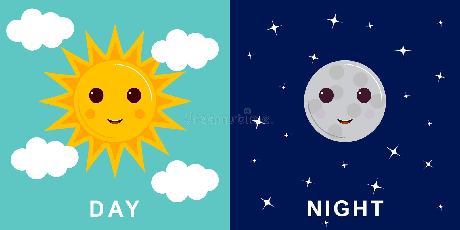 Day and night illustrations with funny smiling cartoon characters of sun and moon stock illustration