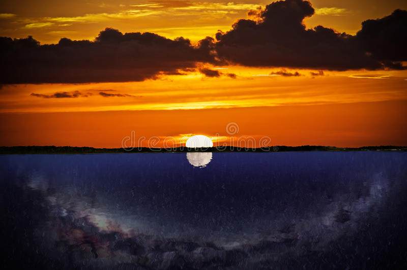 Day or Night. A look at the day or night scene over a like with the reflections. A photo rendering stock photography