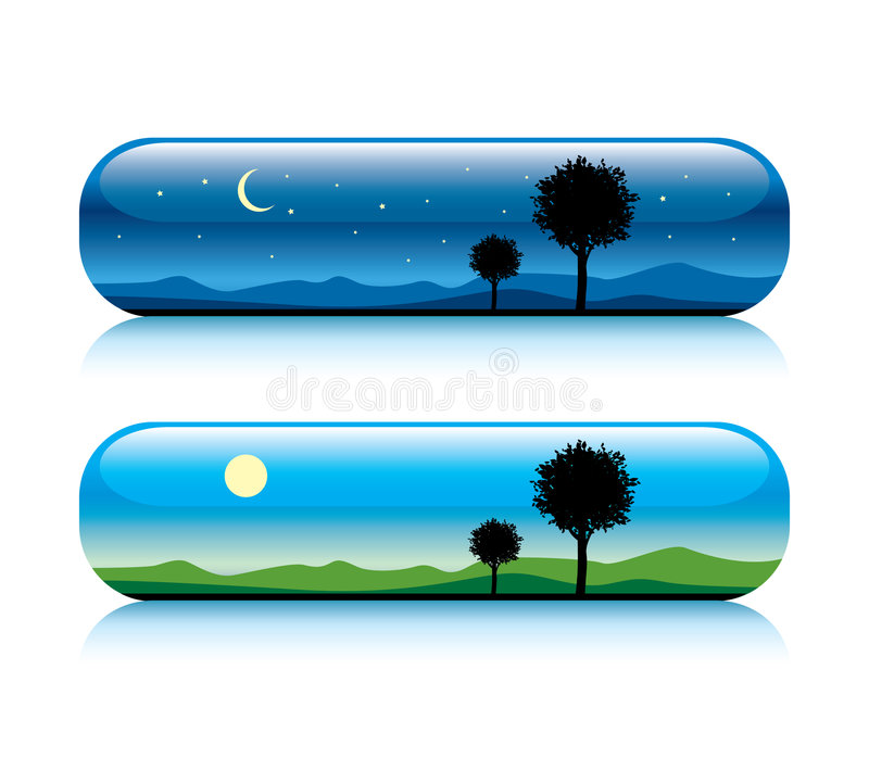 Day and night nature button royalty free illustration