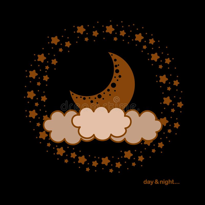 Day & night poster with moon, clouds and stars on black background. Beautiful illustration for your design project stock illustration