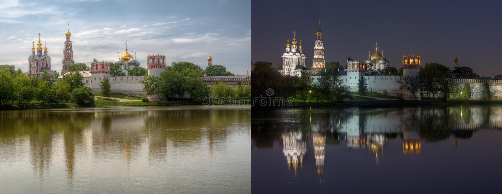 Day and night series: Novodevichy Convent royalty free stock photography