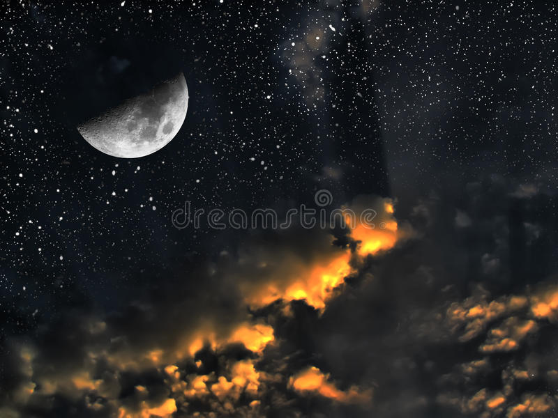 Day and night space time concept stock illustration