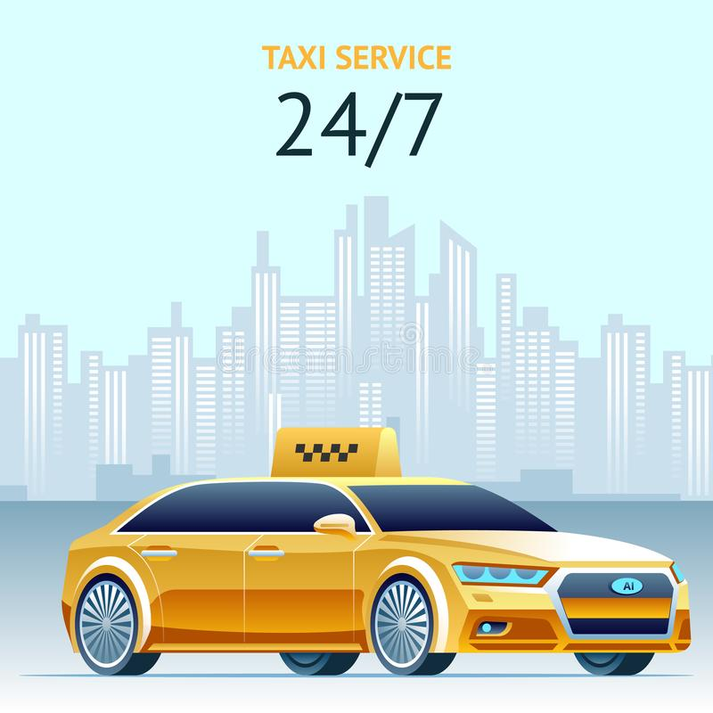 Day and Night Taxi Service. Vector Square Banner. vector illustration