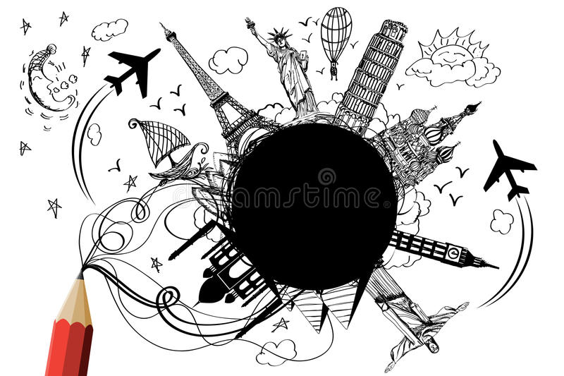 Day and night travel design by creative red pencil. On wihte background vector illustration