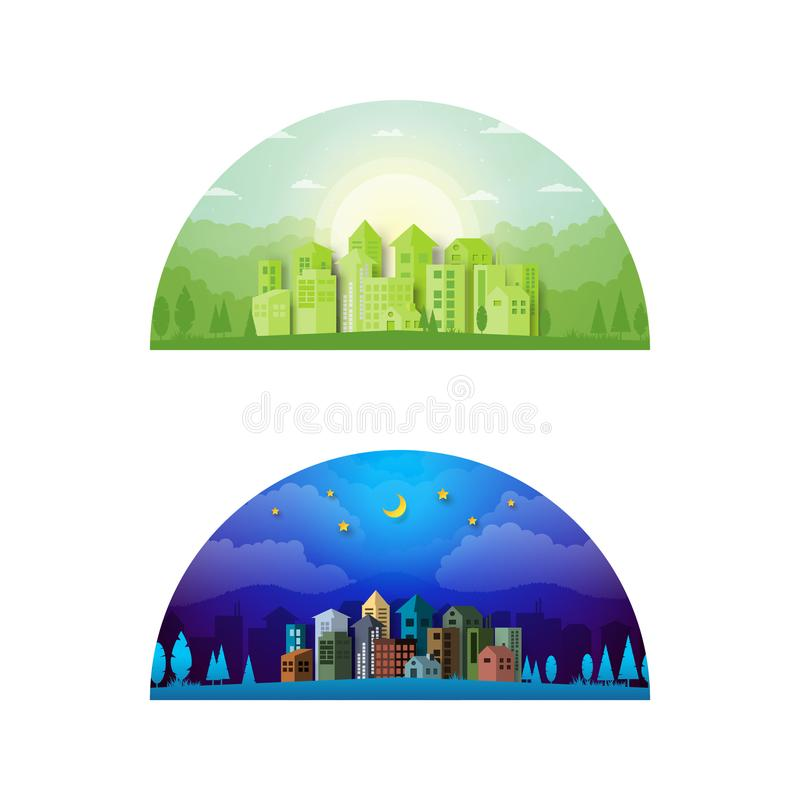 Day and night urban city landscape summer concept background. royalty free illustration