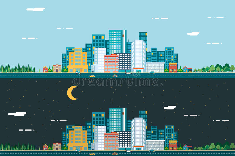 Day and night Urban Landscape City Real Estate royalty free illustration