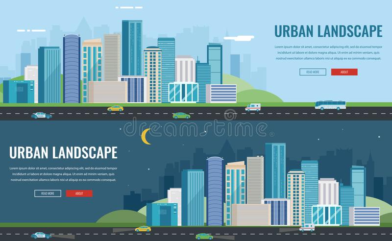 Day and night urban landscape. Modern city. Building architecture, cityscape town. Concept website template. Vector. Illustration royalty free illustration