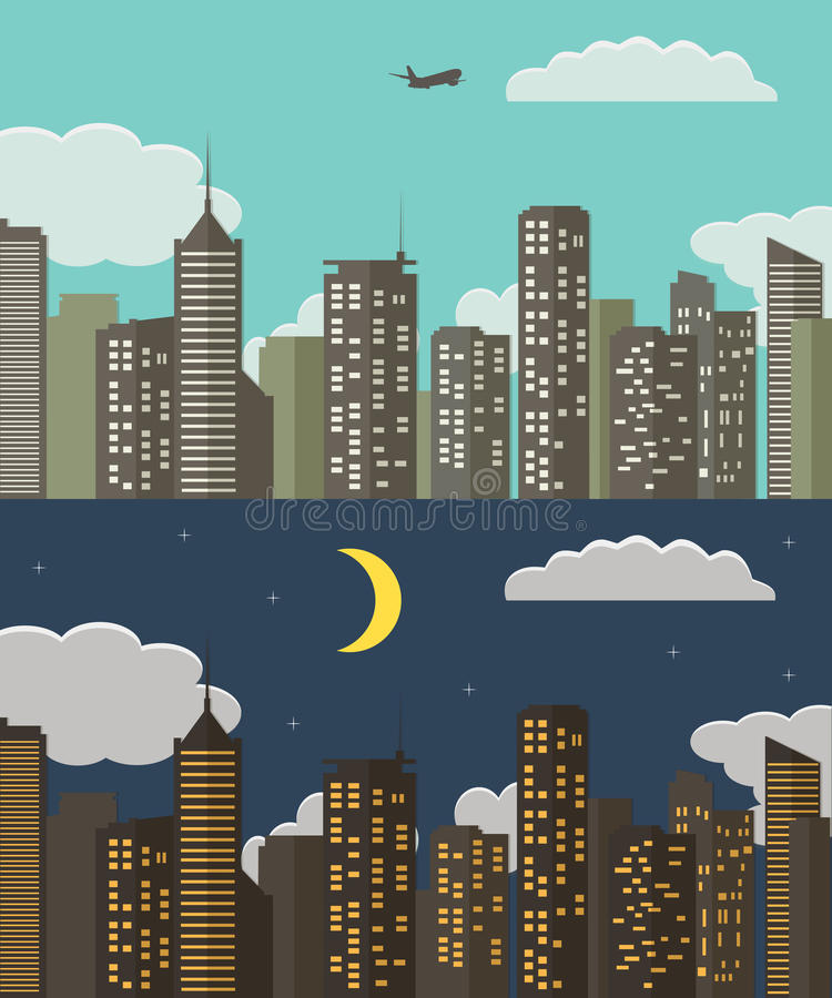 Day and night Urban Landscape. Summer City Background. Vector Illustration vector illustration