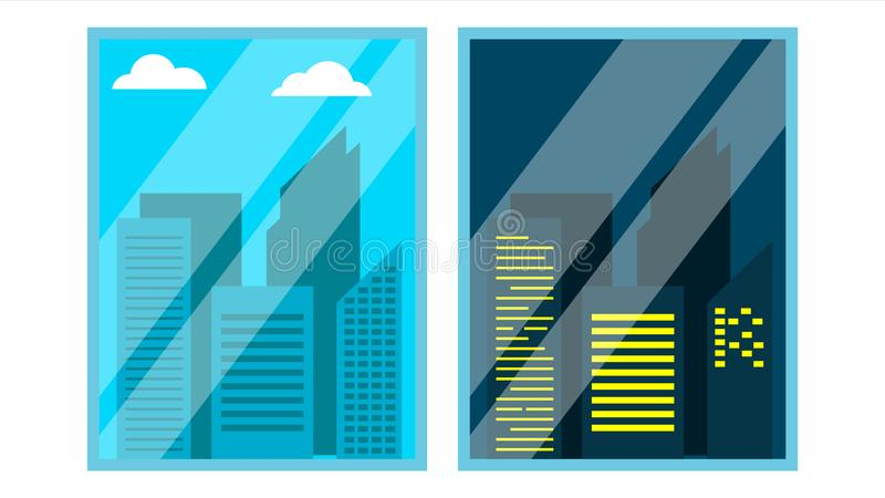 Day, Night Window View Vector. Scene. Skyscraper, Sky. Night Office City Lights. Window Time View. Morning And Afternoon royalty free illustration