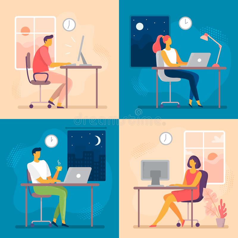 Day or night work. Working late, overtime office works and computer worker nights. Lark and owl workflow flat vector stock illustration