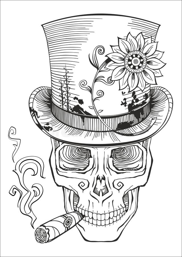 Free Day Of The Dead, Baron Samedi Drawing Royalty Free Stock Photo - 52325505