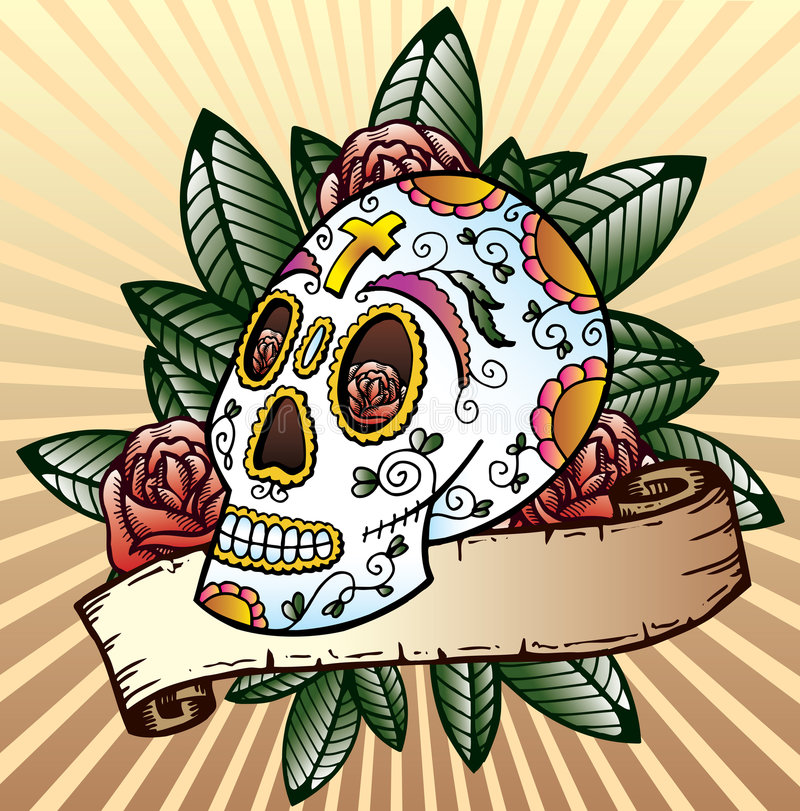 Free Day Of The Dead Festival Skull Vector Illustration Royalty Free Stock Photo - 7069255