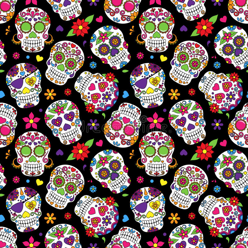 Free Day Of The Dead Sugar Skull Seamless Vector Background Stock Photos - 50137283