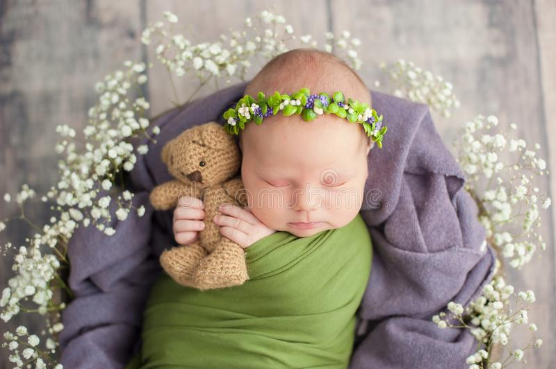 10 day old newborn baby is sleeping in basket. Two week old child. Beginning of life and happy fairy magic childhood concept. Asleep, beautiful, beauty, cute stock photography
