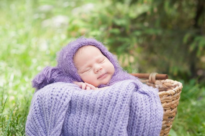 17 day old Smiling newborn baby is sleeping on his stomach in the basket on nature in the garden outdoor royalty free stock photos