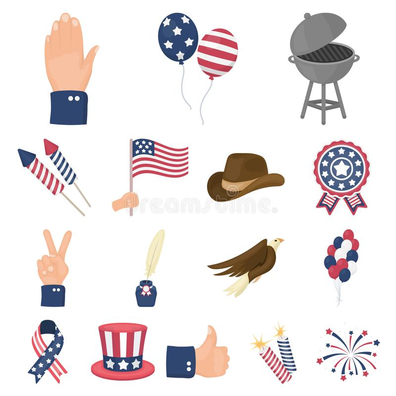 Day of Patriot, holiday cartoon icons in set collection for design. American tradition vector symbol stock web. Day of Patriot, holiday cartoon icons in set stock illustration