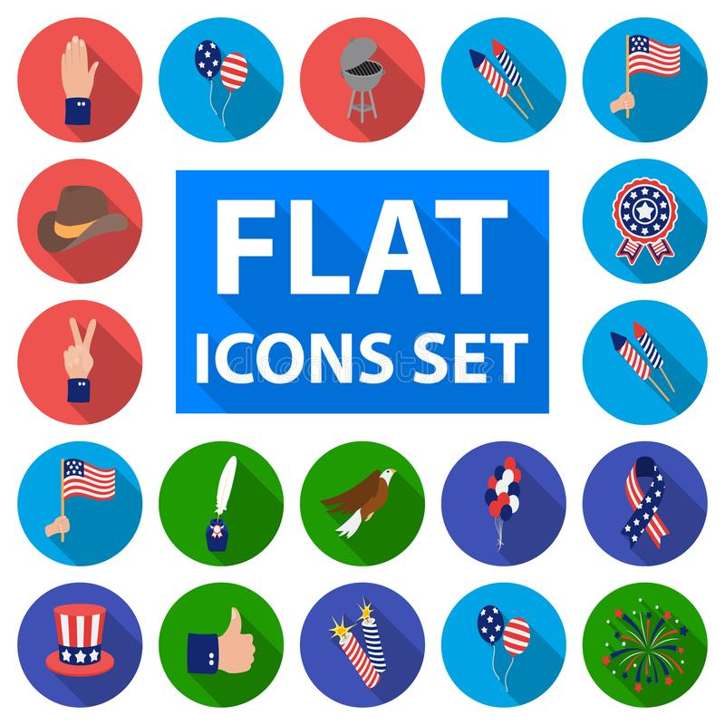 Day of Patriot, holiday flat icons in set collection for design. American tradition vector symbol stock web illustration. Day of Patriot, holiday flat icons in stock illustration