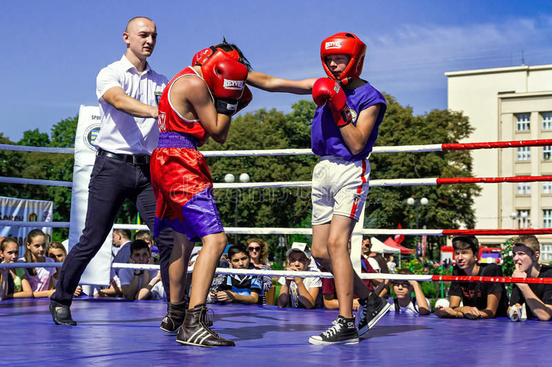 Day of Physical Culture and Sports in Uzhgorod. Uzhhorod, Ukraine - September 9. 2016: The students of the local school of boxing demonstrate their skills in the stock photography