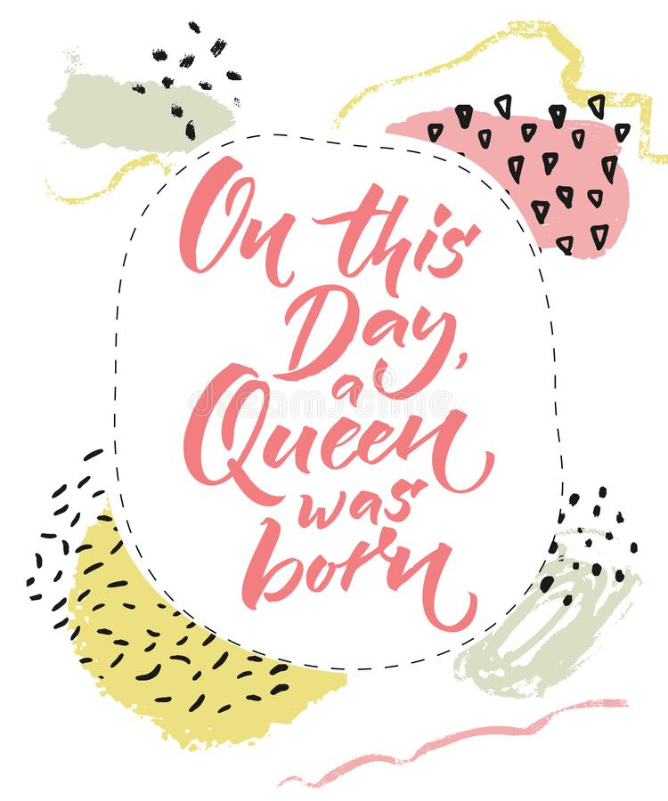 Download On This Day A Queen Was Born Happy Birthday Card For Girls Brush